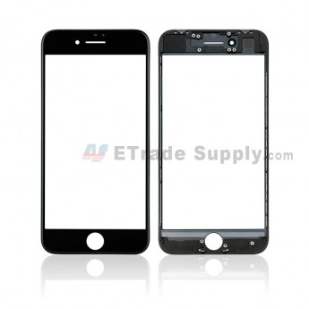 For Apple iPhone 8 Glass Lens with Frame Replacement - Black - Grade S+ (8)
