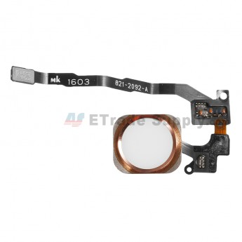 For Apple iPhone SE Home Button Assembly with Flex Cable Ribbon Replacement - Rose Gold - Grade S+ (0)