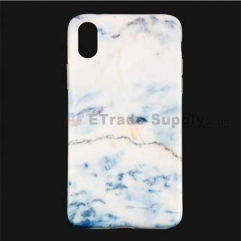 For Apple iPhone X Protective Case Replacement (Marble Light Blue) - Grade R (0)