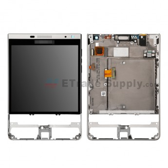 For BlackBerry Passport Silver Edition LCD Screen and Digitizer Assembly with Front Housing Replacement - Silver - Blackberry Logo - Grade S+ (2)