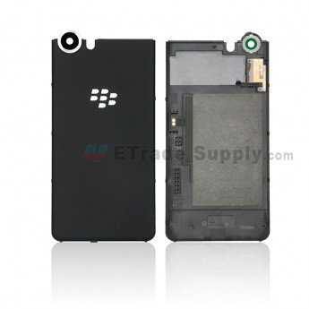 For Blackberry KEYone Battery Door with Rear Facing Camera Lens Replacement - Black - Without Logo - Grade S+ (0)