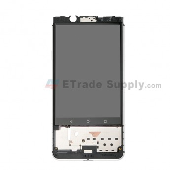 For Blackberry KEYone LCD Screen and Digitizer Assembly with Front Housing Replacement - Silver - Without Logo - Grade S+ (0)