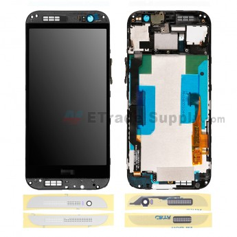 For HTC One M8 LCD Screen and Digitizer Assembly with Front Housing Replacement - Silver - HTC Logo - Grade R (10)