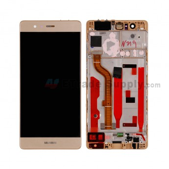 For HW P9 LCD and Digitizer Assembly with Front Housing Replacement - Gold - HW Logo - Grade S+ (0)