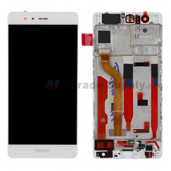 For HW P9 LCD and Digitizer Assembly with Front Housing Replacement - White - HW Logo - Grade S+ (0)