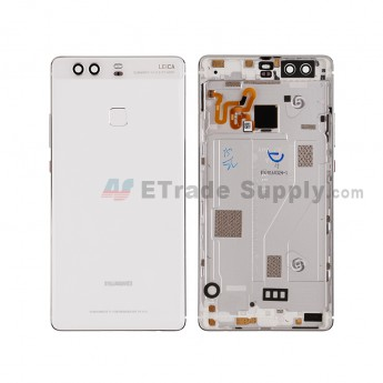For HW P9 Plus Rear Housing (With Fingerprint Sensor Flex) Replacement - Ceramic White - HW Logo - Grade S+ (6)