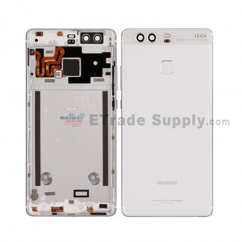 For HW P9 Rear Housing (With Fingerprint Sensor Flex) - Ceramic White - HW Logo - Grade S+ (0)