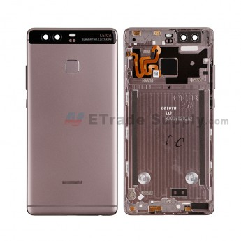 For HW P9 Rear Housing (With Fingerprint Sensor Flex) - Gray - HW Logo - Grade S+ (0)
