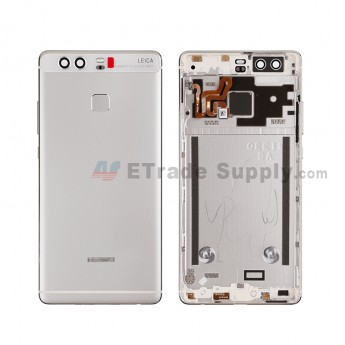 For HW P9 Rear Housing (With Fingerprint Sensor Flex) - Silver - HW Logo - Grade S+ (8)