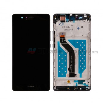 For HW P9 lite LCD and Digitizer Assembly with Front Housing Replacement - Black - HW Logo - Grade S+ (0)