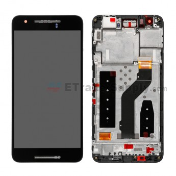 For Huawei Nexus 6P LCD and Digitizer Assembly with Front Housing Replacement - Black - Without Logo - Grade A (1)