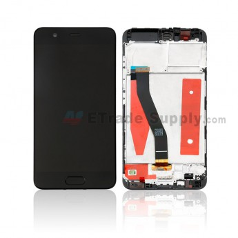 For Huawei P10 LCD Screen and Digitizer Assembly with Front Housing Replacement - Black - With Logo - Grade S+ (0)