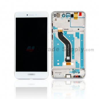 For Huawei P8 Lite 2017 LCD Screen and Digitizer Assembly With Front Housing Replacement - White - With Logo - Grade S+ (0)