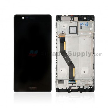 For Huawei P9 Plus LCD and Digitizer Assembly with Front Housing Replacement - Black - With Logo - Grade S+ (0)