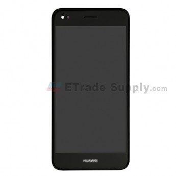 For Huawei Y7 2017 LCD Screen and Digitizer Assembly with Front Housing Replacement - Black - With Logo - Grade S+ (0)