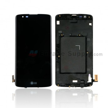 For LG K8 K350 LCD Screen and Digitizer Assembly with Front Housing Replacement - Black - With Logo - Grade S+ (0)