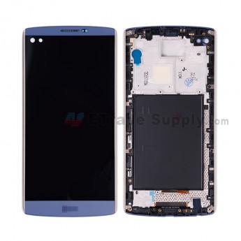 For LS V10 H900/H901 LCD Screen and Digitizer Assembly with Front Housing Replacement (Without Small Parts) - Blue - LS Logo - Grade S+ (0)