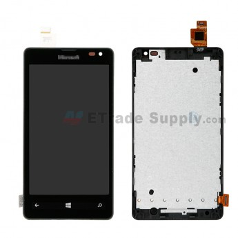 For Microsoft Lumia 532 LCD Screen and Digitizer Assembly with Front Housing Replacement - Black - With Microsoft Logo - Grade S+ (0)
