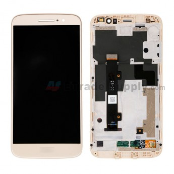 For Motorola Moto M XT1662 LCD Screen and Digitizer Assembly with Front Housing Replacement - Gold - With Logo - Grade S+ (0)