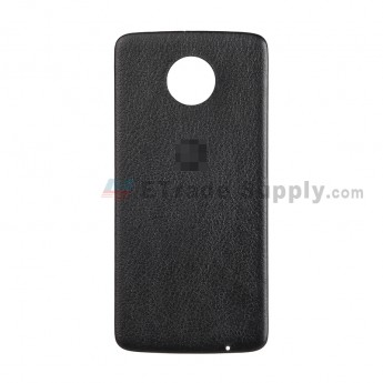 For Motorola Moto Z XT1650 Battery Door Replacement (Leather) - Black - With Logo - Grade S+ (2)