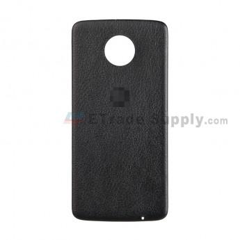 For Motorola Moto Z XT1650 Battery Door Replacement (Leather) - Black - With Logo - Grade S+ (2)