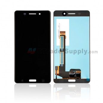 For Nokia 6 LCD Screen and Digitizer Assembly Replacement - Black - With Logo - Grade S+ (0)