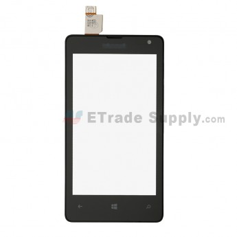 For Nokia Lumia 435 Digitizer Touch Screen with Frame Replacement - Black - Grade S+ (0)