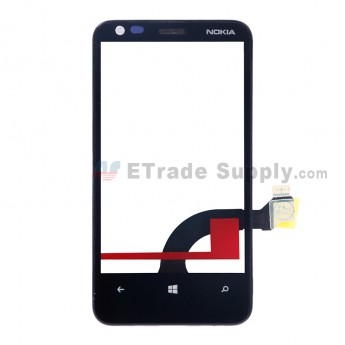 For Nokia Lumia 620 Digitizer Touch Screen with Front Housing Replacement - Grade S+ (1)