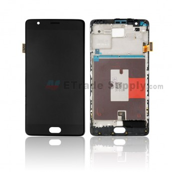 For OnePlus 3T LCD Screen and Digitizer Assembly with Front Housing Replacement - Black - Without Any Logo - Grade S+ (0)