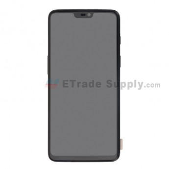For OnePlus 6 LCD Screen and Digitizer Assembly with Front Housing Replacement - Black - Without Logo - Grade S+ (0)