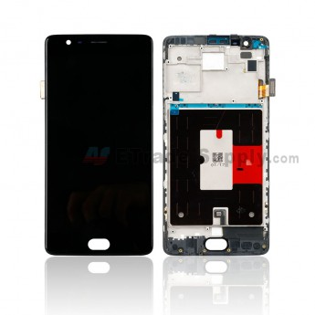 For OnePlus Three LCD Screen and Digitizer Assembly with Front Housing Replacement (A3003 Version) - Black - Without Logo - Grade S+ (0)