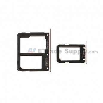 For SM Galaxy A9 (2016) SM-A9000 SIM Card Tray Set Replacement (Micro-SIM Card + Nano-SIM Card) - Gold - Grade S+ (1)