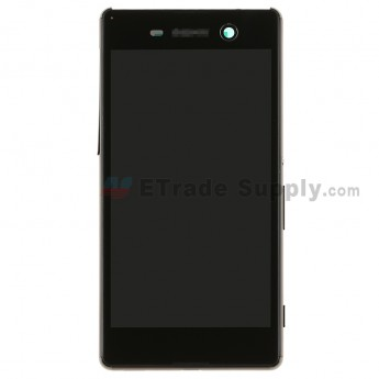 For SN Xperia M5 LCD Screen and Digitizer Assembly with Front Housing Replacement - Black - SN Logo - Grade S+ (0)