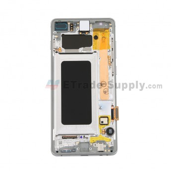 For Samsung Galaxy S10 Plus Series LCD Screen and Digitizer Assembly with Front Housing Replacement - White - Without Logo - Grade S+ (0)