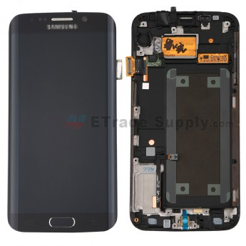 For Samsung Galaxy S6 Edge SM-G925F LCD Screen and Digitizer Assembly with Front Housing Replacement - Sapphire - Samsung Logo - Grade S+ (2)