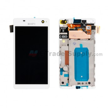 For Sony Xperia C4 LCD Screen and Digitizer Assembly with Front Housing Replacement - White - With Logo - Grade S+ (0)