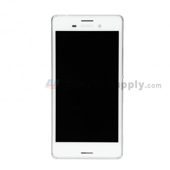 For Sony Xperia M4 Aqua LCD Screen and Digitizer Assembly with Front Housing Replacement - White - Sony Logo - Grade S+ (0)