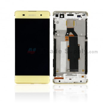 For Sony Xperia XA LCD Screen and Digitizer Assembly with Front Housing Replacement - Lime Gold - With Logo - Grade S+ (0)