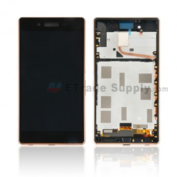 For Sony Xperia Z3+ LCD Screen and Digitizer Assembly with Front Housing Replacement - Gold - With Logo - Grade S+ (0)