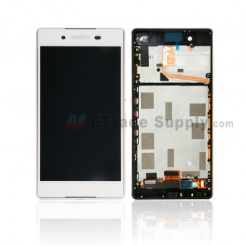 For Sony Xperia Z3+ LCD Screen and Digitizer Assembly with Front Housing Replacement - White - With Logo - Grade S+ (0)