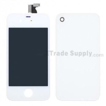 For Apple iPhone 4 LCD and Digitizer Assembly with Battery Door and Home Button Replacement (AT&T) - White - Grade R