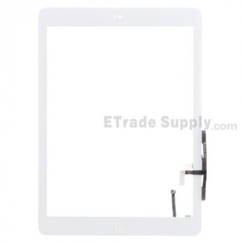 For Apple iPad Air Digitizer Touch Screen Assembly Replacement (Wifi + Cellular) - White - Grade S+