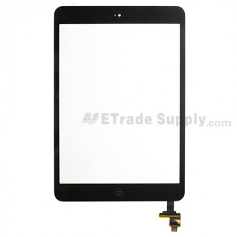 For Apple iPad Mini Digitizer Touch Screen Assembly with IC Board Replacement - Black - Grade R