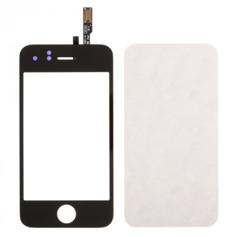 For Apple iPhone 3G Digitizer Touch Screen & Top Glass with Adhesive Replacement - Black - Grade R