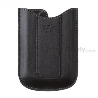 For BlackBerry Curve 8300 Leather Case - Black - Grade R