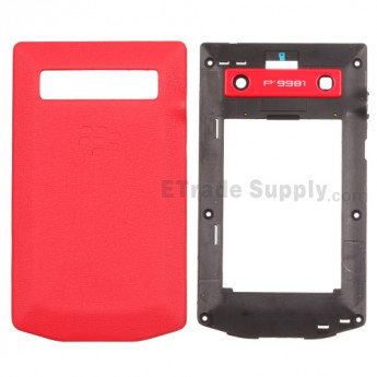 For BlackBerry Porsche Design P'9981 Rear Housing and Battery Door Replacement - Red - Grade R