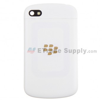 For BlackBerry Q10 Battery Door with Top Cover Replacement - White - With Logo