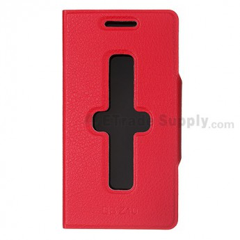 For BlackBerry Z10 Leather Case - Red - Grade R