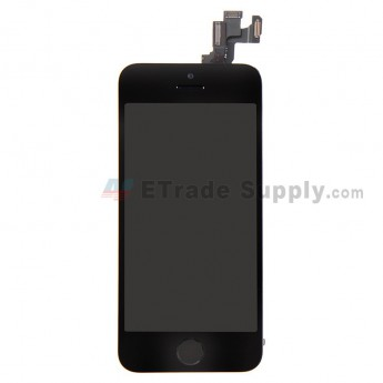For Apple iPhone 5S LCD Screen and Digitizer Assembly with Frame and Home Button Replacement - Black - Grade R