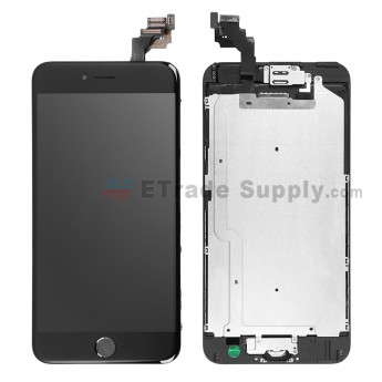 For Apple iPhone 6 Plus LCD Screen and Digitizer Assembly with Frame and Home Button Replacement - Black - Grade A